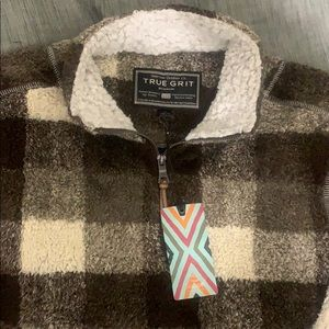 NWT TRUE GRIT BUFFALO CHECK 1/4 zip, BROWN MED